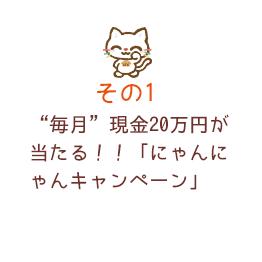 """""""毎月""""現金20万円が当たる!!「にゃんにゃんキャンペーン」"""